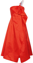 Peter Pilotto One-shoulder Wrap-effect Draped Taffeta Midi Dress - Tomato red