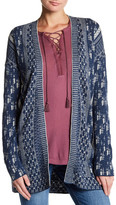 Lucky Brand Stitched Pattern Open Cardigan