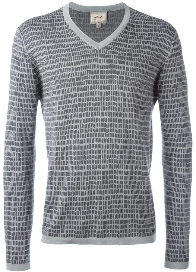 Armani Collezioni patterned V-neck T-shirt