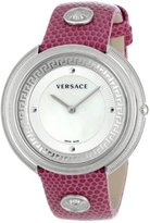 "Versace Women's VA7020013 ""Thea"" Stainless Steel Watch with Medusa-Studded Fuchsia Leather Strap"