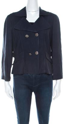 Emporio Armani Dark Blue Linen Padded Shoulder Jacket M