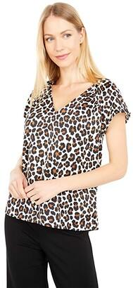 MICHAEL Michael Kors 70s Cat Hammered Satin Top (Caramel) Women's Clothing