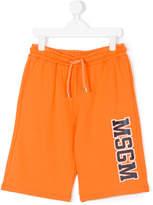 MSGM logo print track shorts