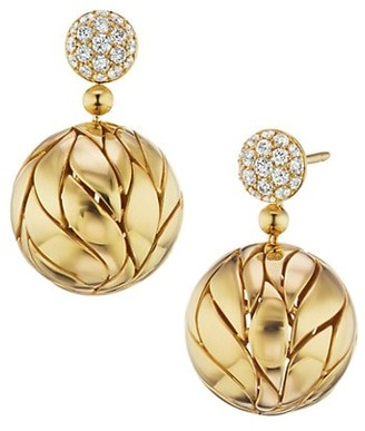 Maria Canale Petal 18K Yellow Gold & Diamond Ball Drop Earrings