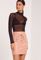 Missguided Eyelet Lace Up Mini Skirt Nude