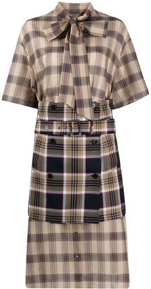 Rokh Check Print Layered Style Dress
