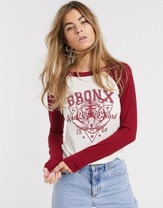 Brave Soul front print long sleeve tshirt with contrast sleeves