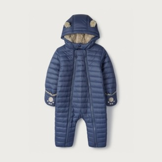 The White Company Blue Quilted Pramsuit, Blue, 0-3mths