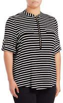 Calvin Klein Plus Quarter Zip Striped Shirt