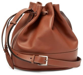 Hunting Season Drawstring Leather Bucket Bag - Womens - Tan