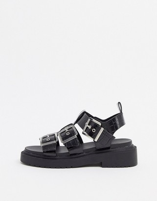 Fallon Asos Design ASOS DESIGN chunky buckle sandal in black