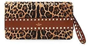 Valentino Women's Garavani Rockstud Leopard-Print Canvas & Leather Clutch