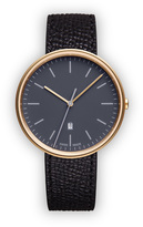 Uniform Wares M38 Women's date watch in PVD satin gold with black textured calf leather strap