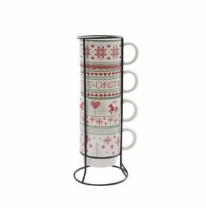 American Atelier Merry Christmas 5 Piece Mug Set w/ Metal Rack
