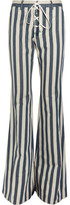 Roberto Cavalli Striped High-rise Flared Jeans - Light denim