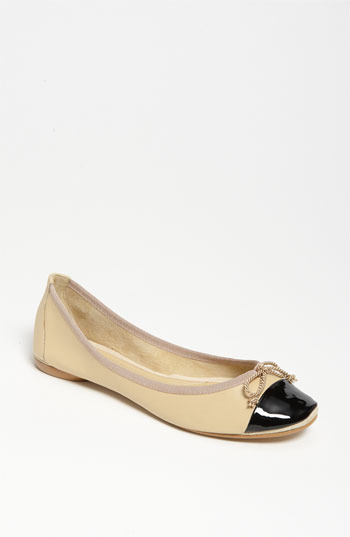 French Sole 'Finesse' Flat Black Patent/ Beige Leather 6.5 M