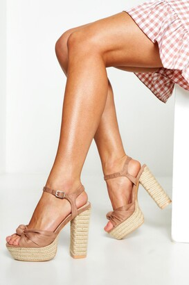 boohoo Espadrille Knot Front Platform Heels