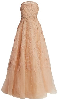 Marchesa Blush Beaded Floral Strapless Gown