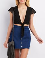 Charlotte Russe Chiffon Tie-Front Crop Top