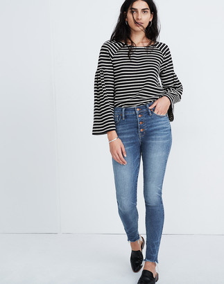 """Madewell Petite 10"""" High-Rise Skinny Jeans in Cordova Wash: Button-Front Edition"""