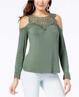 Thalia Sodi Cold-Shoulder Crochet Yoke Top, Created for Macy's
