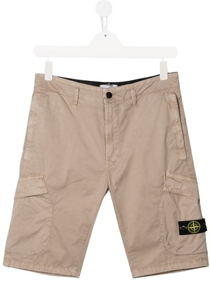 Stone Island Junior TEEN compass badge cargo shorts