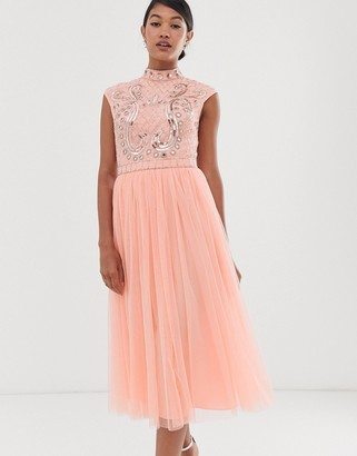 Asos DESIGN midi dress with embellished mirror bodice and tulle skirt