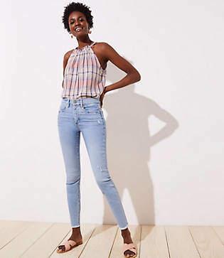 LOFT Petite Modern High Waist Slim Pocket Frayed Skinny Jeans in Light Indigo