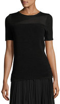 Elie Tahari Ava Short-Sleeve Ribbed Merino Sweater, Black