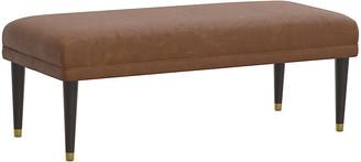 One Kings Lane Alameda Faux-Leather Bench - Saddle Brown