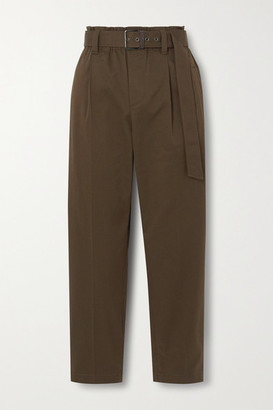 Brunello Cucinelli Bead-embellished Belted Cotton-blend Twill Tapered Pants - Brown
