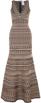 Herve Leger Stretch Jacquard-knit Gown - Beige