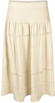Studio Myr Calf-Length Bohemian Chic Knitted Skirt Sweety - Wool White.