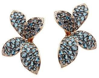 Pasquale Bruni 18K Rose Gold Giardini Segreti Flower Drop Earrings with Diamonds & London Blue Topaz
