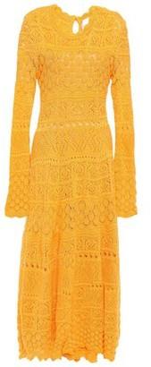 Carolina Herrera Asymmetric Crocheted Cotton Midi Dress