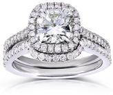 Kobelli Jewelry Kobelli 1 3/5 CT TW Cushion Moissanite and Diamond 14K White Gold Halo Bridal Set