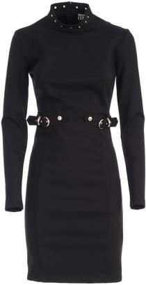 Versace Dress L7s High Neck W/studs And Buckle