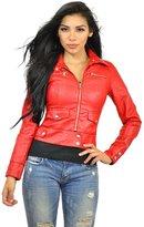 Carmin Women's Crinkled Washed Faux Leather Motorcycle Jacket