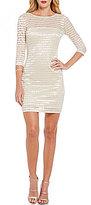 Jump Glitter-Accented Striped Lace Sheath Dress