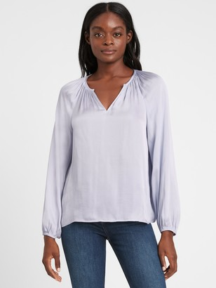 Banana Republic Petite Satin Balloon-Sleeve Top