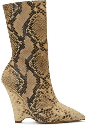 Yeezy Beige Python Wedge Boots