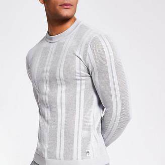 River Island Grey mesh stripe slim fit knitted jumper