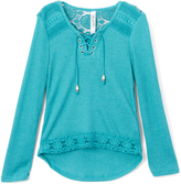 Beautees Lapis Green Hi-Low Top & Leaf Necklace - Girls