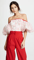 Costarellos OTS Top with Puffy Sleeves
