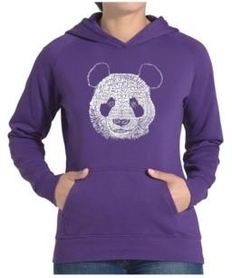 LA Pop Art Women's Word Art Hooded Sweatshirt -Panda
