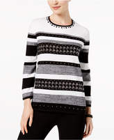 Alfred Dunner Talk Of The Town Studded Striped Sweater