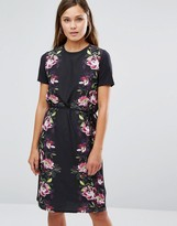 Oasis Floral Satin Tie Front Shift Dress
