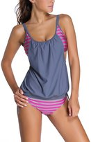 Dokotoo Womens Stripes Lined Up Double Up Tankini Top Bikini Swimwear