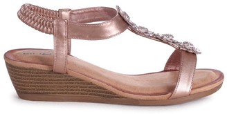 Linzi FLOWER - Rose Gold Wedges Sandal With Floral Embellishment & Padded Footbed