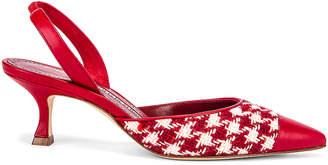 Manolo Blahnik Carolyne 50 Heel in Red Houndstooth | FWRD